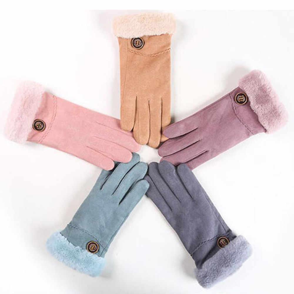 Knop Decoratie Glover Knit Plus Fluwelen Tastbaar Antislip Volledige Vinger Mitten Vrouwen Winddicht Warme Ski Mitten Handschoenen