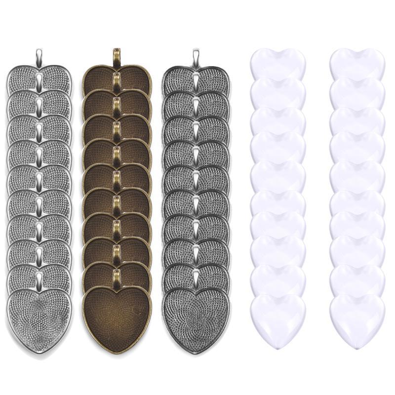 40 шт. базовые настройки стеклянные 25 мм сердца Кабошоны фотоаксессуары для самостоятельного изготовления подвесок ювелирных изделий