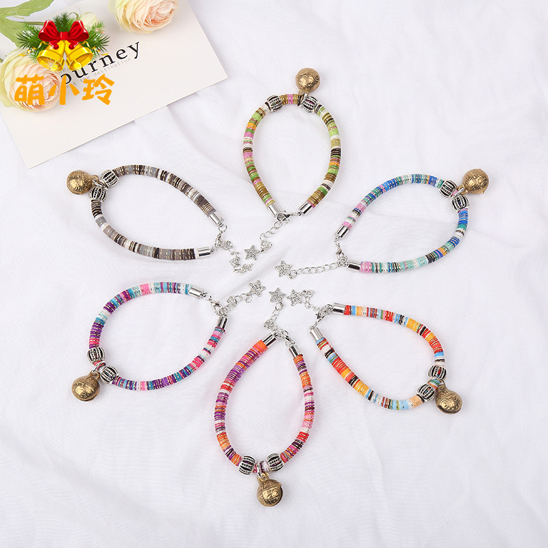 Japanese Style Necklace Cat Bell Neck Ring Handmade Fashion Parts Alloy Collar Cat Dog Pet Supplies Accessories