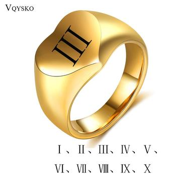 Personality Roman Numeral Letter Rings Customize Gold Color Stainless Steel Fashion Jewelry Heart Finger Ring Women And Men
