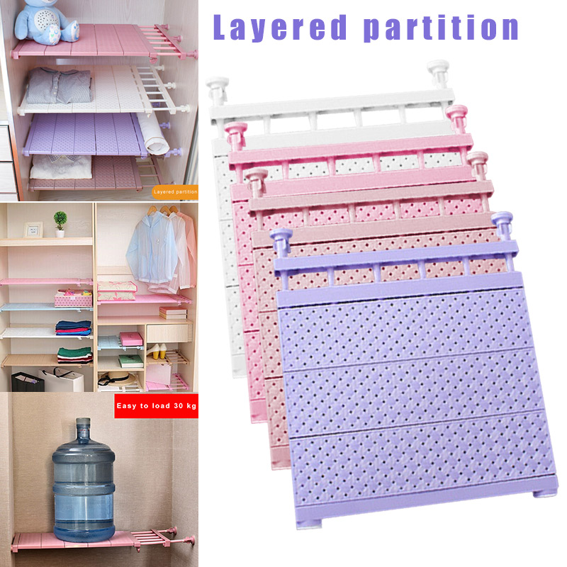 Adjustable Closet Organizer Storage Shelf Wall Mounted Kitchen Rack Space Saving Wardrobe Decorative Shelves Cabinet Holders MU