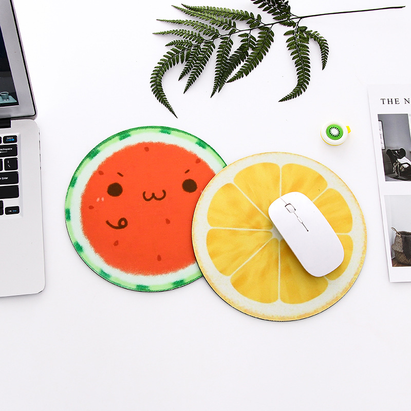 Round Mouse Pad Cute Fruit Series Mat Peach/Watermelon/Orange/Planet Computer Peripherals Accessory Desk Organizer Office Supply