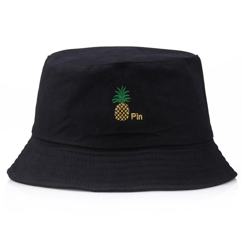 Pineapple Embroidery Bucket Hats For Women And Men Panama  Multicolor Harajuku Fishing Fisherman Hat Hip Hop Cap