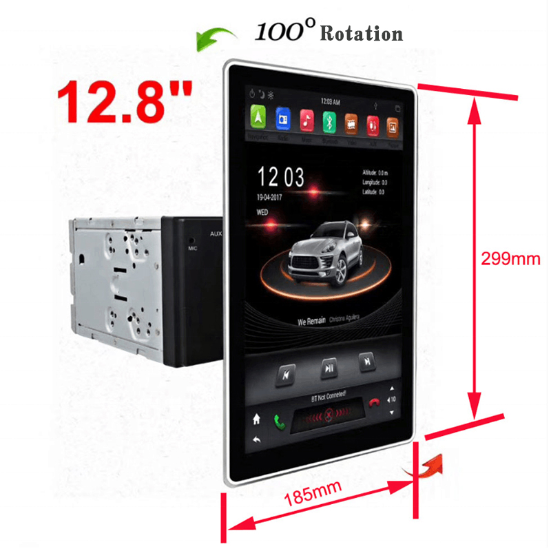 "12.8"" Tesla Style Rotation IPS Screen 2 Din Universal Android 9.0 Car multimedia GPS Player Radio Car Stereo Voice Control"