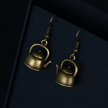Trendy Vintage Bronze Kettle Shape Dangle Earrings for Women Girl Retro Drop Earrings Cute Small Object Earring Jewelry Bijoux(China)
