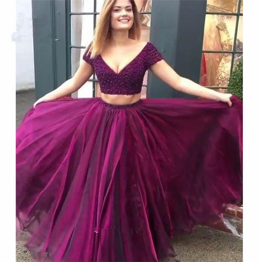 Deux pièces robe 2019 bleu marine robes de bal longue Double col en v Organza robe Longo cristaux perlé formelle soirée robe de soirée