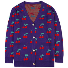 Shuchan Cherry Print Cute Sweater Loose Women's Sweater with A Pattern Autumn Winter 2019 New Items Female Cardigan Fall 10879 geometrical pattern cape loose sweater with taeesl details