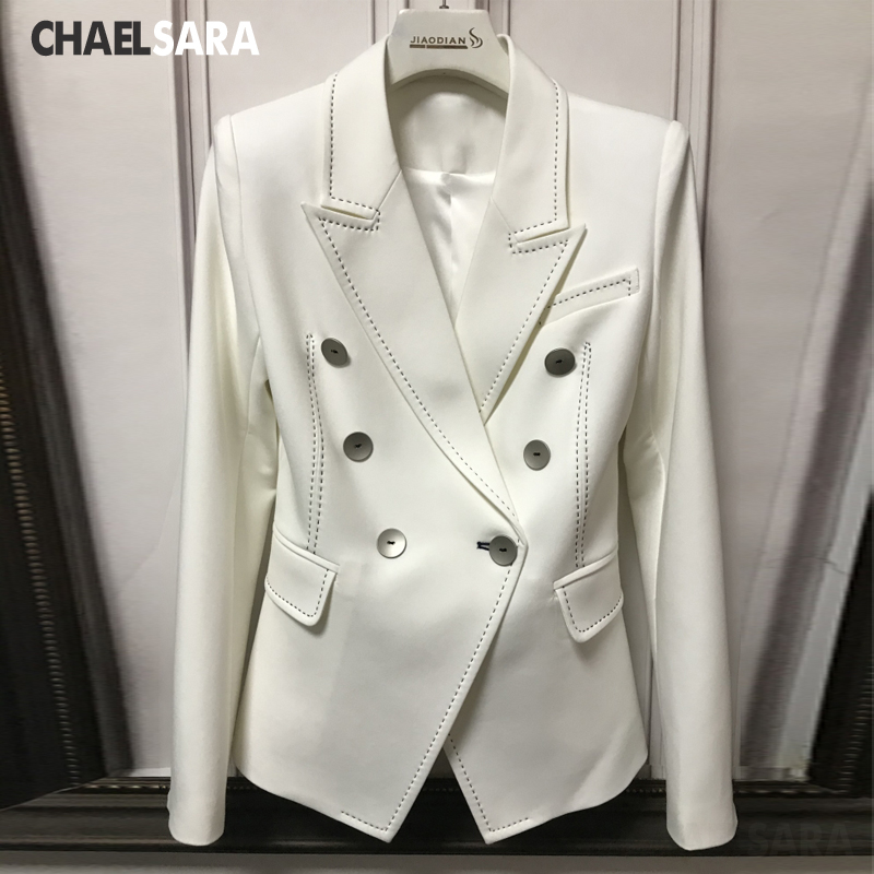 High Quality Luxury Women Slim Business Lady Blazer 2020 New Elegant Double Breasted Notched Office Lady Suit