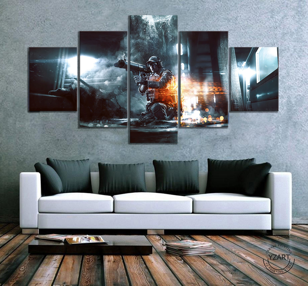 HD Drawing Painting Art Pubg Playerunknowns Battlegrounds Explosion Game Poster Pictures for Wall Decor 1