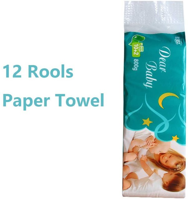 12 Rolls Paper Towel Roll Toilet Paper Soluble Centerless Pulp Paper Uncolored Sanitary Household Soft Toilet Paper