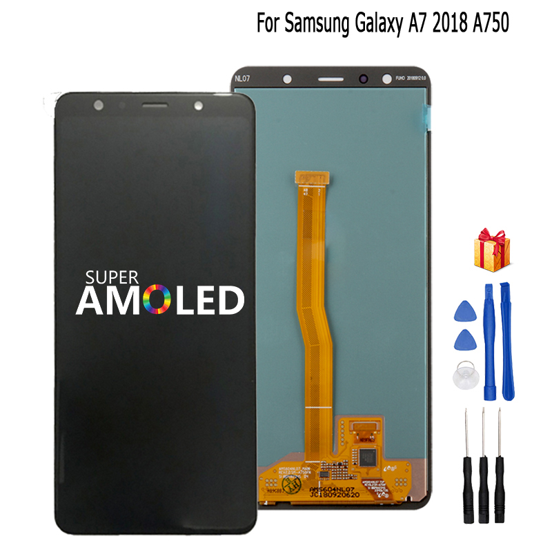 Original Amoled For <font><b>Samsung</b></font> <font><b>Galaxy</b></font> <font><b>A7</b></font> <font><b>2018</b></font> A750 A750F SM-A750F A750FN A750G LCD <font><b>Display</b></font> Touch Screen Digitizer Assembly <font><b>Display</b></font> image