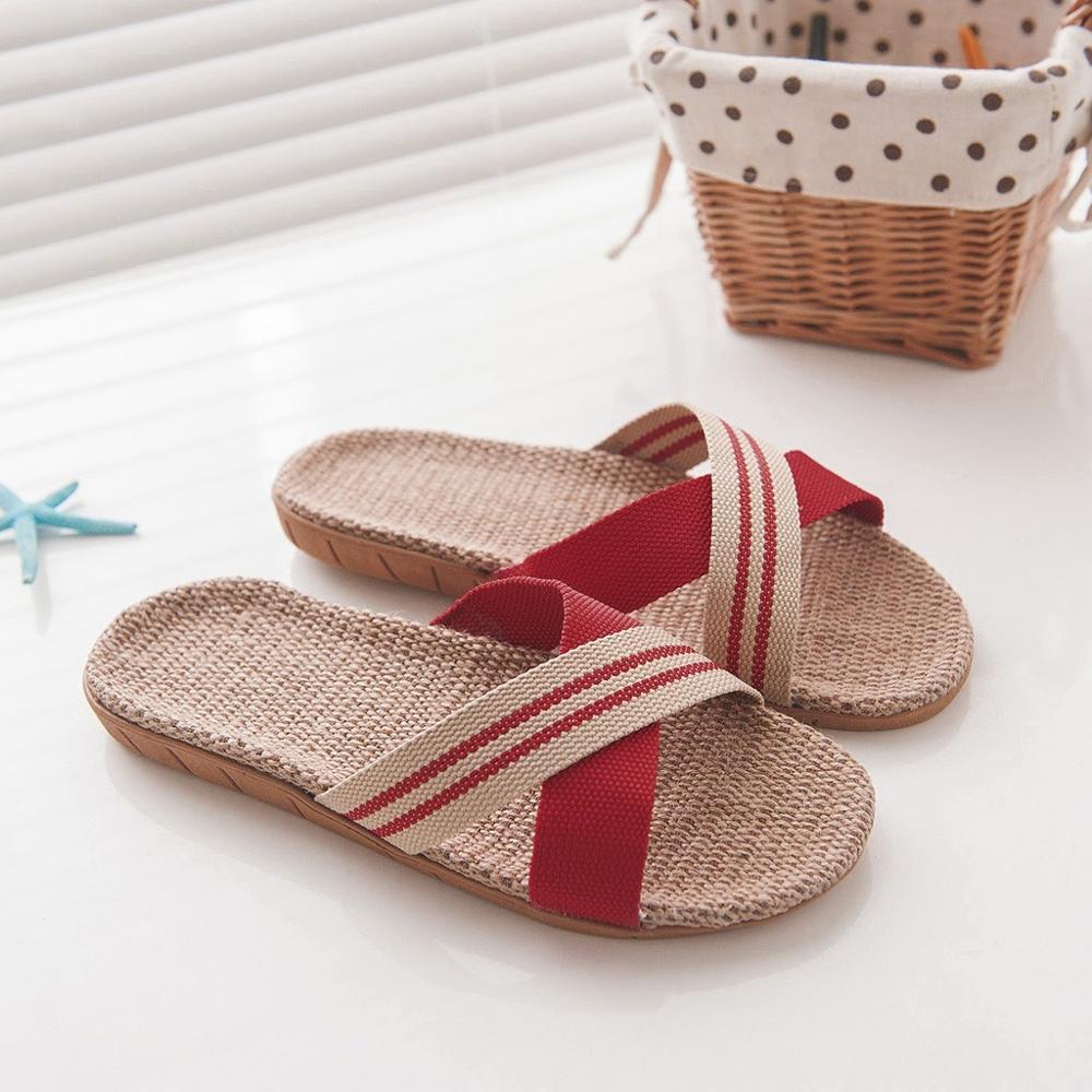 Обувь мужские Нескользящие льняные тапки для дома помещений с открытым носком на плоской подошве пляжные летние шлепанцы повседневные льняные шлепанцы zapatos de hombre - Цвет: Красный