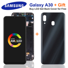 SUPER AMOLED For Samsung GALAXY A30 LCD Display Touch Screen With A30 Battery Cover Digitizer Assembly A305/DS A305FN A305G LCD