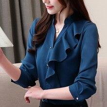 Blusas femininas shirt 2019 ladies tops long sleeve solid button V-neck chiffon blouse women and blouses ruffles 0218