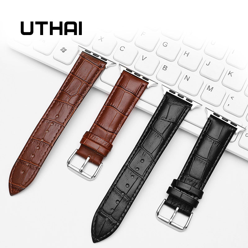 UTHAI A03 Leather Watch Strap For Apple Watch 42MM 38MM 44MM 40MM Replacement Strap For IWatch 4 3 2 1 Watchbands