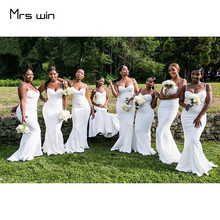 Mrs win Bridesmaid Dresses Elegant White Sling Wedding Guest Dress 2020 Strapless Mermaid Plus Size Vestido Madrinha HR096