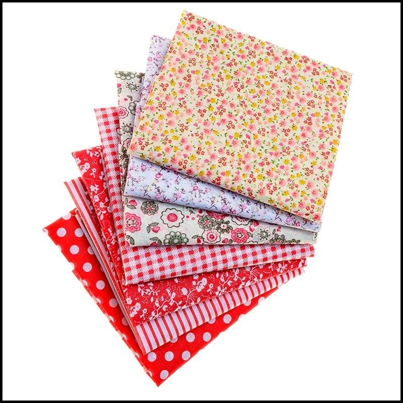 2020 novo vermelho impresso algodão pano conjunto, puro algodão diy materiais de suprimentos artesanais, um pacote de 7 peças de 50xmx50cm ou 25cm x 25cm