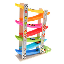 Wooden Race Track Car Ramp Racer With 8 Mini Cars Sliding Toy Toddlers Kids Developmental