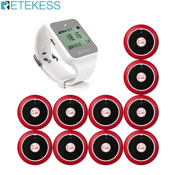 Retekess TD108 Watch Receiver+10pcs Call Button Transmitters Restaurant Pager Wireless Call System Cafe Office Factory Pager
