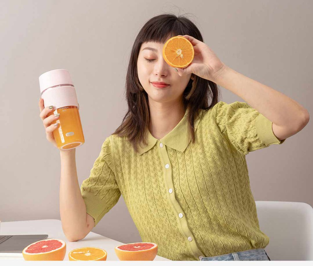H234db3450a694f689d20a9e28249664bH XIAOMI MIJIA Bud BR25E Blender Portable Fruit Cup Electric Kitchen Mixer Juicer food processor Machine 300ML Magnetic charging