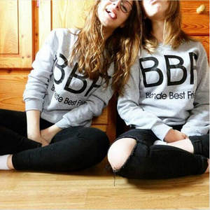 For Women Fashion BBF Letter Print Tops Hot Tracksuit Best Friend Sweatshirt Harajuku