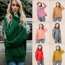 Autumn Winter Turtleneck Sweater Women Oversize Solid Knitted Sweaters Warm Long Sleeve Pullover Sweater Female 2019 Fashion New