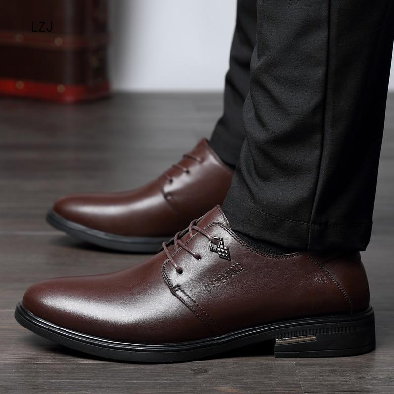 LZJ Nuovi 2019 Uomini Scarpe Formali Punta a punta Degli Uomini del Cuoio Genuino di Business Scarpe Oxford Scarpe Per Gli Uomini Pattini di Vestito Herren schuhe - 2