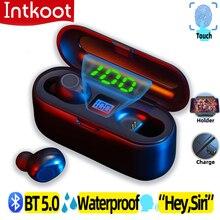 Беспроводная Bluetooth гарнитура 5,0, стереонаушники 3D, Smart Touch, TWS F9, наушники с поддержкой iOS, Android, LED, 2000 мАч, зарядное устройство