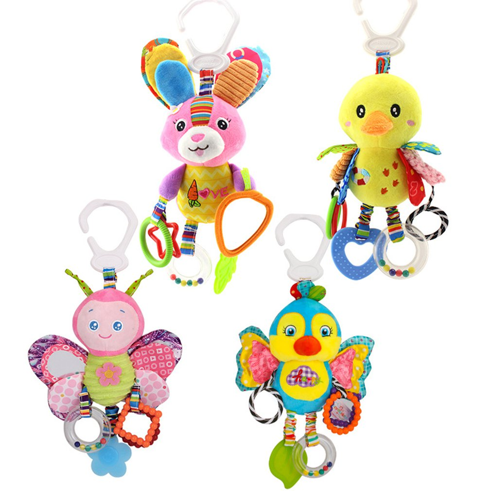 Random 1Pcs Baby Toys 0-1 Year Old Trailer Animal Doll Bed Hanging Plush Toy Rattle Appease Bed Bell Children's Toys