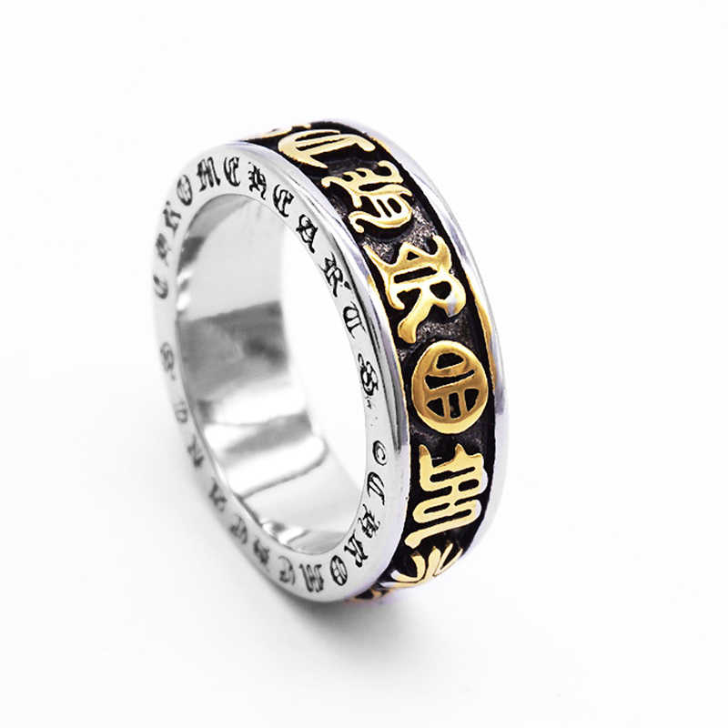 ทิเบตพุทธสีดำโชคดี Mantra แหวนผู้ชายสเตนเลสสตีลแหวนลึกลับศาสนาพุทธเครื่องประดับ
