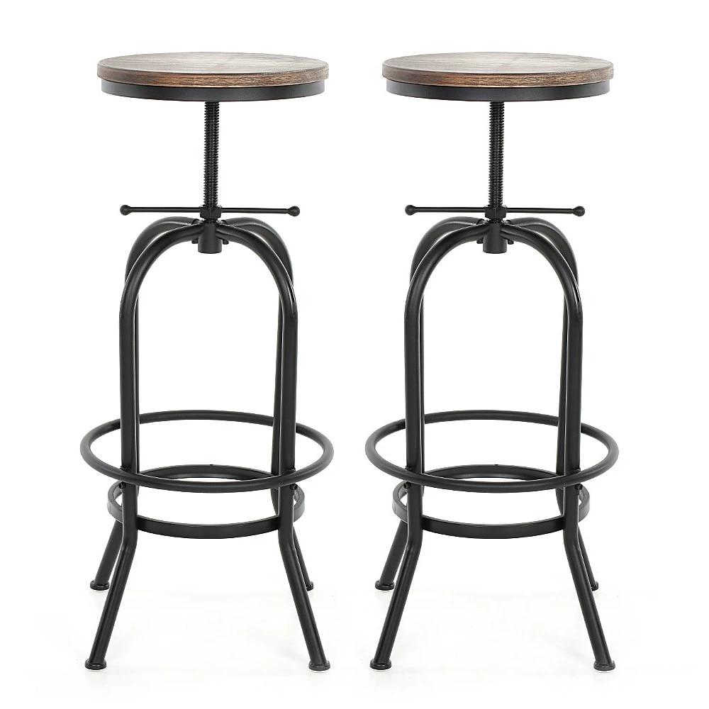 Ikayaa Industrial Vintage Gaya Height Adjustable Swivel Bar Stool Natural Pinewood Top Kitchen Dining Breakfast Chair Kursi Bar Aliexpress