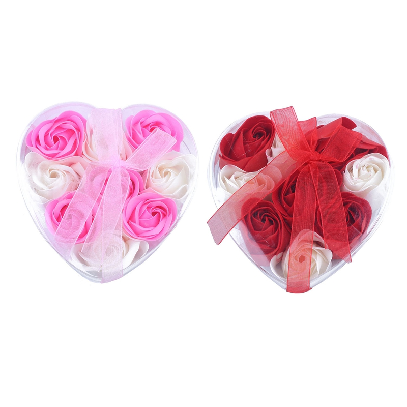 2 Box 9Pcs Scented Rose Flower Petal Bath Body Soap Wedding Party Gift, Pink + White & Red + White