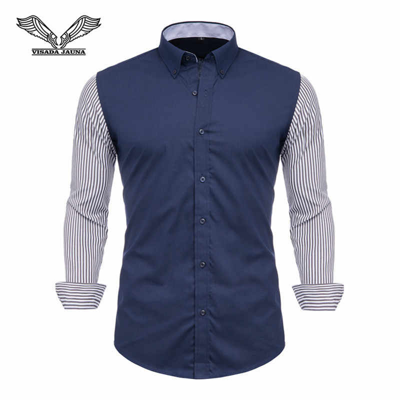 VISADA JAUNA 100% Camisa de algodón para hombres marca 2019 camisas de manga larga para hombres Casual Hit Color Delgado ajuste negro ropa de Hombre Camisas N5127
