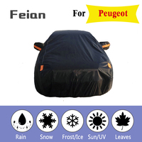 Full Reflective strip Car Covers Snow Ice Dust Wind Sunshade UV Cover Foldable Car Outdoor black Protector Cover for Peugeot|Car Covers| |  -