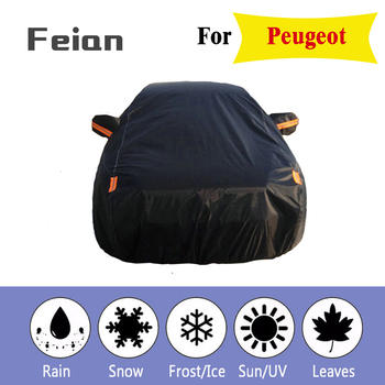 Full Reflective strip Car Covers Snow Ice Dust Wind Sunshade UV Cover Foldable Car Outdoor black Protector Cover for Peugeot