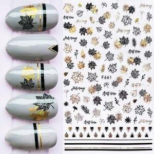 1 Sheet Gold Black Autumn Leaves 3D Nail Stickers Holographics Geometric Slider Nail Art Adhesive Decorations
