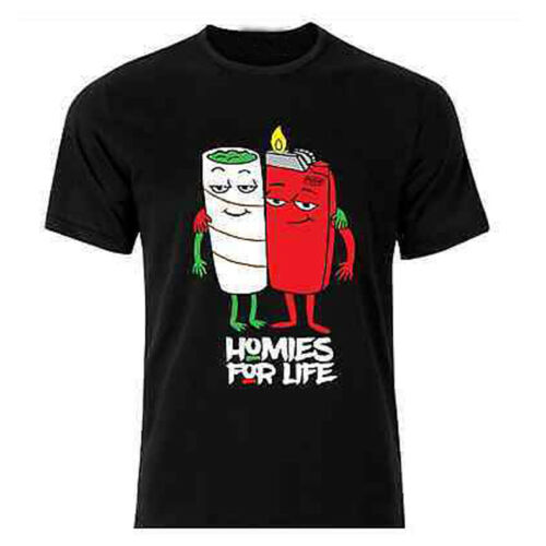 Homies For Life Funny Weed Joint Lighter Funny Tee New Men's T-Shirt image