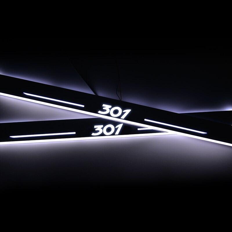 Seuil de porte de LED pour Peugeot 301 2015 2016 2017 2018 plaque de porte acrylique