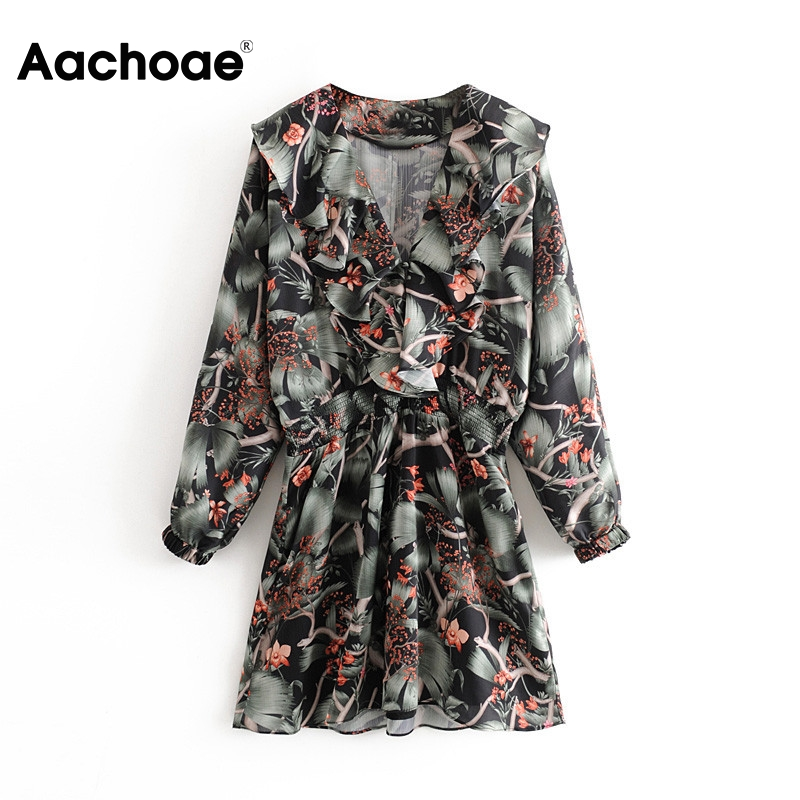 Boho Floral Print Mini Dress Lady Batwing Long Sleeve Women A Line Dresses V Neck Ruffle Trim Female Elegant Dress Vestido Mujer