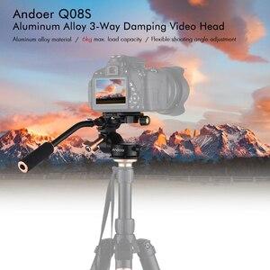 Image 5 - Andoer Q08S אלומיניום סגסוגת 3 דרך דעיכת וידאו ראש חצובה ראש עם פאן בר ידית עבור DSLR הכשרת היישוב מצלמה עבור חצובה חדרגל