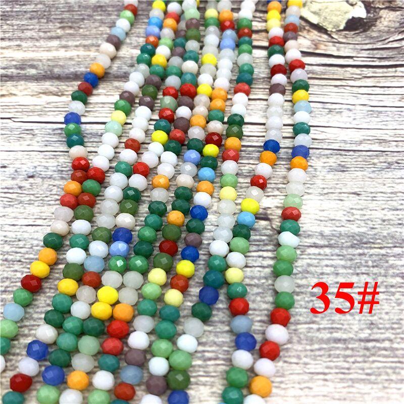 148 шт 2x3 мм/3x4 мм/4x6 мм хрустальные бусины Рондель граненые стеклянные бусины для изготовления ювелирных изделий DIY женский браслет ожерелье ювелирные изделия - Цвет: NO.35