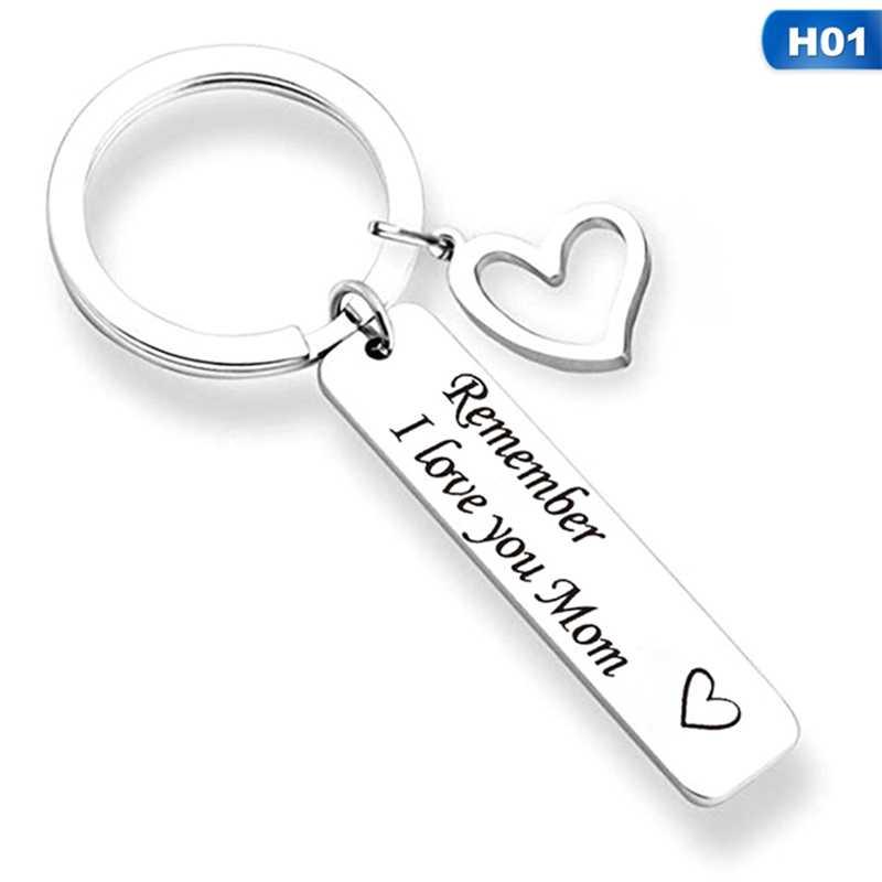 Nhớ CON Yêu Mẹ Bố Trái Tim Thiền Trượng Móc Khóa Nhẫn Chữ Mặt Dây Chuyền Chìa khóa Cho Mẹ của Ngày của Cha món quà Trang Sức