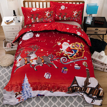3D Merry Christmas Bedding Set Duvet Cover Red Santa Claus Comforter Bed Set Gifts USA Size Queen King(China)