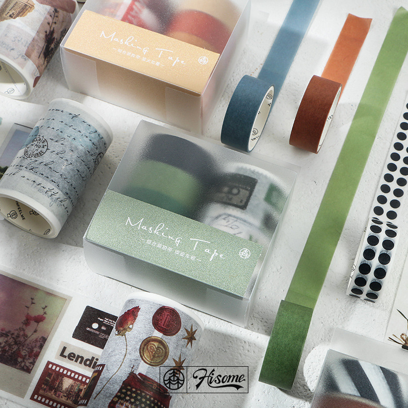 5pcs/pack Vintage Washi Tape Japanese Paper Diy Planner Masking Tape Adhesive Tapes Stickers Decorative Stationery Tapes