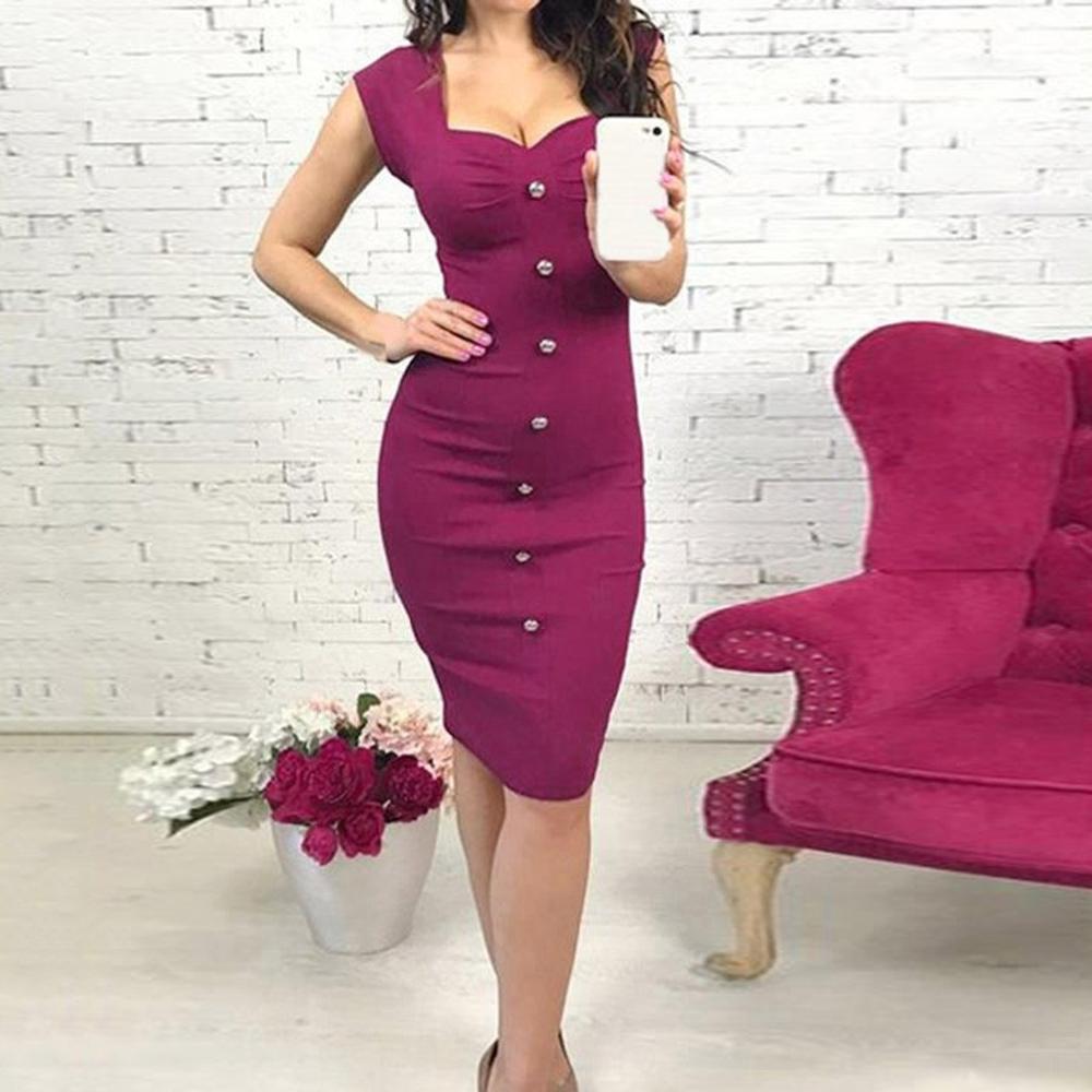 Bodycon Dress Women 2020 Short Sleeve Square Neck Dresses Woman Party Night Solid Black Hot Pink S-XL Knee-Length Elegant Dress