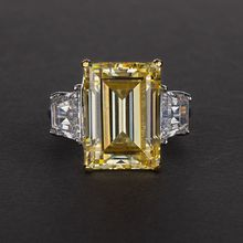 Sterling silver Created Moissanite Gemstone citrine Diamond Emerald cut Ring Yellow Big stone Rings Party Gifts for Women