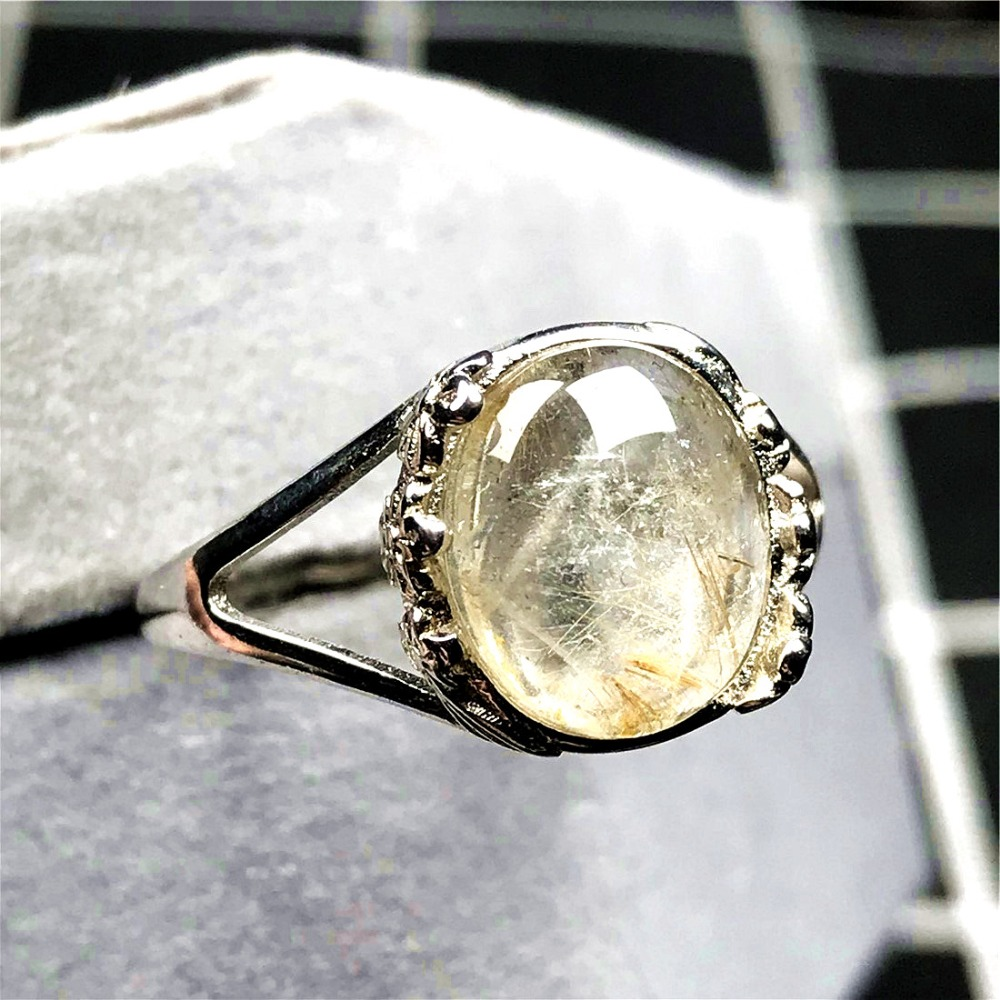 Simple Sterling Silver Ring Stacking Ring Dainty Ring Nature Rutilated Quartz Ring For Women Engagement Ring. 14K  Gold Vermeil Ring