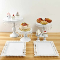 7PCS Cake Stand Set Cupcake Display Holder Home Birthday Party Wedding Decorations Cake Tools Kitchen Bakeware Gold White Black