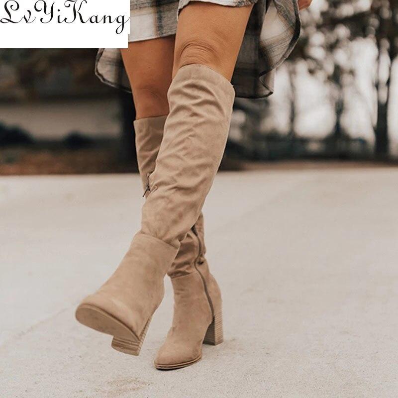 Женские сапоги на шнуровке, теплые зимние сапоги до колена на высоком каблуке, Размеры 35-43, 2019