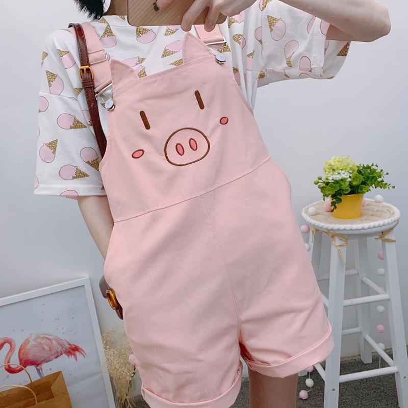 Summer Women's Suspender Shorts Cute Pig Embroidery Kawaii Wide Leg High Waist Shorts Loose Teen Girls Student Mori Girl Korean